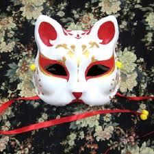 japanese for mask half face hand painted japanese fox mask kitsune cosplay masquerade