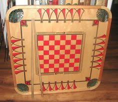Antique Wooden Game Boards RESERVEDANTIQUE Wooden Game Board Checker Board Chess 82