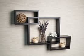 ... Floating Wall Shelves Target 3 Set Of Intersecting Black Stained Wooden  Decorative Shelf Contemporary Modern Elegant ...