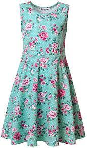Jxstar Girls Summer Dress Sleeveless Printing Casual ... - Amazon.com