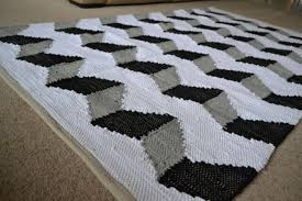 funky zig zag cotton rug large 3d black grey white hand made woven 150cm x 240cm