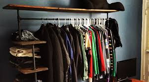 diy pipe shelf clothes rack feature image