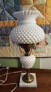 fenton art glass milk glass hobnail student desk lamp marble base