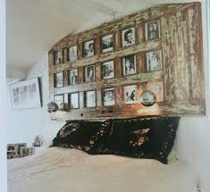 old door frame as picture frame above bed amazing