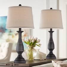 Regency Hill Traditional Table Lamps Set Of 2 Dark Bronze Metal
