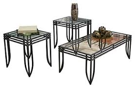 Ashley Furniture Signature Design   Exeter Glass Top Occasional Table Set    Contains Cocktail Table U0026