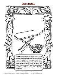 Small Picture Sarah Boone coloring sheet the inventor of the ironing board