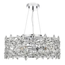 luella 4 light ceiling pendant with crystal flowers