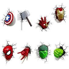 Marvel Avengers 3d Wall Lights 3d Wall Sticker Lamp Marvel Toys Avengers Iron Man 3d Light