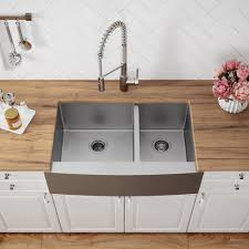 kraus standart pro 8482 33 inch 16 gauge 60 40 double bowl kraus 33 inch farmhouse double bowl stainless steel kitchen sink