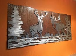 log cabin decor lovely elk artwork metal wall art nature scene wildlife forest bear
