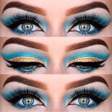love this blue and gold eye look with an egyptian influence for