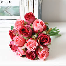 Aliexpress.com : Buy Wholesale cheap fake artificial bridal wedding bouquet  purple rose wedding flower party decoration red silk roses wedding flower  from ...