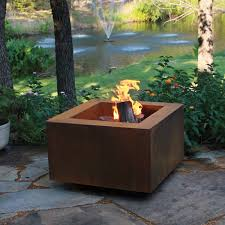 patio with square fire pit. Cor-Ten Steel Fire Pit   30-In Square With Optional Lid Patio P