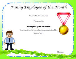 Funny Employee Of The Month Certificate Kadil