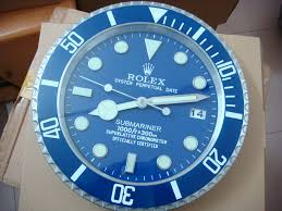 rolex submariner wall clock blue bezel with blue dial