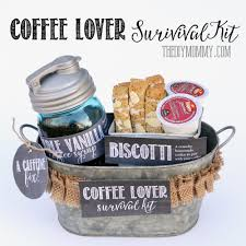 a gift basket idea coffee lover suvival kit homemade coffee syrup homemade bisocotti