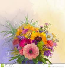oil painting still life bouquet flowers in vase