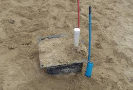 plastic sand box that makes a blockout in the finished slab for the drain at a shower or bathtub the blockout gives some space to adjust the drain piping