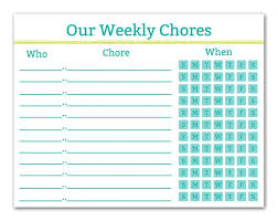 Printable Chore Chart Family Organization Command Center Printable Chart Teen Chores Family Schedule Instant Download Teal