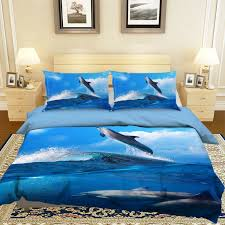 3d jumping dolphins bed pillowcases quilt duvet cover set single king size uk 34 npakwn1774 duvet covers sets