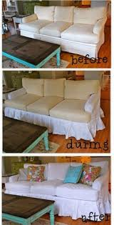 white sofa slipcover before and after love the coffee table too