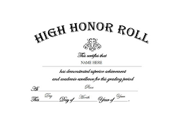 Certificate Of Honor Template High Honor Roll Free Templates Clip Art Wording Geographics