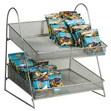 countertop mesh basket display in wire mesh with two tier 15 1 2 w x 15 d x 18 h inch