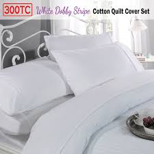 300tc white dobby stripe cotton quilt cover set by pride hotel collection