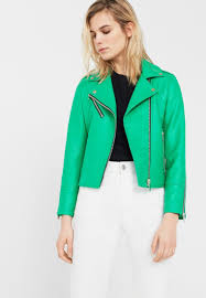 mango etoille faux leather jacket green women excellent quality uk official timeless design