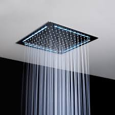 Bathroom:Cool Stainless Hand Hold Shower Head Square Ultra Modern Stailess  Ceiling Shower Head