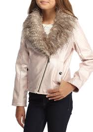 jessica simpson faux leather moto jacket with fur collar girls 7 16 pink kids girls clothing jackets coats