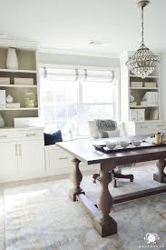 home office makeover. Neutral, White, And Gold Home Office Makeover With Styled Built-ins Flanking The Center Window. Check Out This Timeless, Elgant, Glam One Room Challenge H