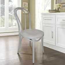 french cafe distressed white dining chair set of 2
