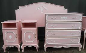 Louis Style Bedroom Furniture Style Five Piece Pink Painted Bedroom Suite