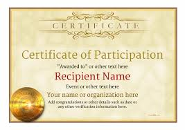 Samples Of Certificates Of Participation Participation Certificate Templates Free Printable Add Badges
