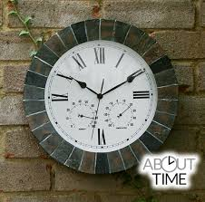 garden clock. Slate Effect Outdoor Garden Clock With Thermometer - 35.5cm (14\ R
