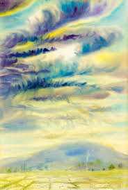 watercolor landscape original painting colorful of rain cloud stock ilration ilration of outdoor