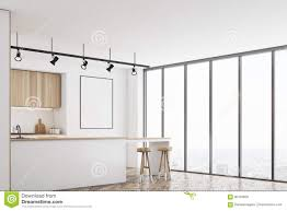 Blank Kitchen Wall White Kitchen With Bar And Poster Corner Stock Illustration
