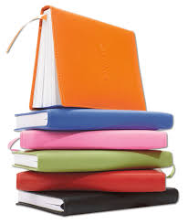 red orange green blue pink and chocolate bonded leather writing journals