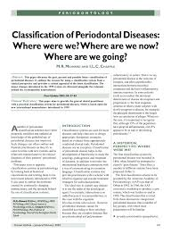 Pdf Classification Of Periodontal Diseases Where Were We