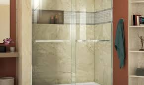 door tubshower tub bathtub shower veil frameless bypass fold glass trackless sliding extraordinary kohler menards