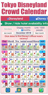 Crowd Calendars For Tokyo Disneyland Disneysea Disney