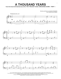 A Thousand Years Sheet Music A Thousand Years Piano Solo Print Sheet Music Now