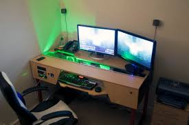 innovative pc desk ideas with custom desk with pc built in gaming battlestation via reddit