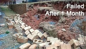 build block retaining wall failed retaining wall building a cinder block retaining wall without mortar building