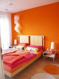 30 Amazing Ripe Orange Room Designs : 30 Amazing Ripe Orange Room Designs  With Orange Bedroom Wall And Modern Nightstand And Chandelier Deco.