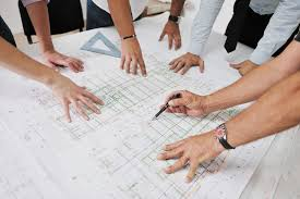 architecture people. Team Of Architects People In Group On Construciton Site Check D Architecture