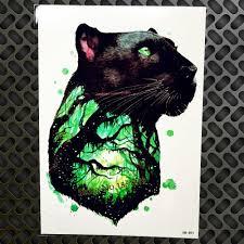 черная кошка Leopard водонепроницаемый временные татуировки пантера ветка храброе