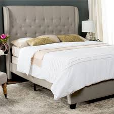 Safavieh Blanchett Light Grey Linen Upholstered Tufted Wingback Bed (Queen)  (FOX6213C-Q)